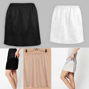 Women Satin Half Slip Underskirt Petticoat Under Dress Mini Skirt Safety Skirt