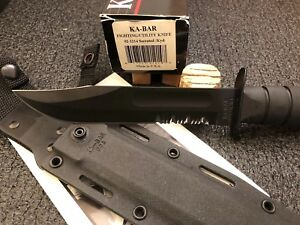 KA-Bar Knives Fighting Utility Knife 02-1214 Black Fixed Tactical Serrated USA