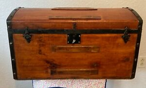 Vintage Farmhouse Newly Refinished Antique Heirloom Trunk With Lock and Key