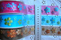 Glitter Flowers on Sheer Organza 40mm wide 3 Metres 3 Colour Variety Choice AR1