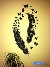 Wandtattoo Feder mit Schmetterlinge oracal MATT Wandaufkleber Schlafzimmer