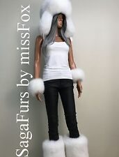 Pure white Fox Fur : trapper, or leg warmers, or mittens. SagaFox