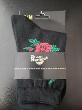 Dr MARTENS DM DOC VONDA SHORT SOCK Black & Red Rose S/M UK 3-7 Woman's Unisex