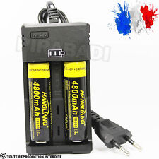 2 PILES ACCU RECHARGEABLE 18650 3.7v 4800mAh BATTERY BATTERIE + CHARGEUR RS-93