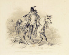 A Blackfoot Indian on Horse-Back 15x22 Karl Bodmer Native American Indian Art