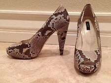 """BALLY Python Snake Open Toe Pump Shoes 4"""" Heels 8 M Worn Once Over $1000"""