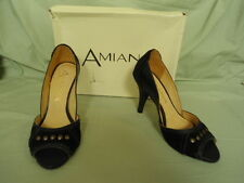 Women's Size 5M Amiana Black Leather Open Toe High Heel Shoes NEW pumps