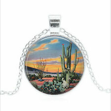 Desert Sunset Tibet silver Glass dome Necklace chain Pendant Wholesale