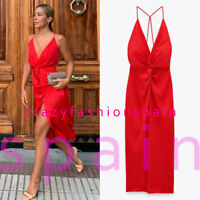 ZARA WOMAN NWT SS20 RED SATIN LINGERIE STYLE DRESS ALL SIZES REF: 1165/157