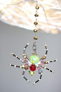 Green Flower & Red Swarovski Crystal Beaded Spider - Ornament /Tree Decoration