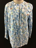 All Heart Scrub top size S small long sleeve airplanes cotton snap closure blue