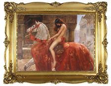 Old Master Art Oil Painting Portrait Nude Woman Godiva on Horse Unframed 30x40