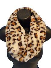 Ladies Women Short Leopard Animal Print Faux Fur CREAM Brown Snood Soft Scarf