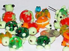 5pc. Glass Turtle Frog Snake Lampwork Bead Mix charm animal Christmas Beads NEW*