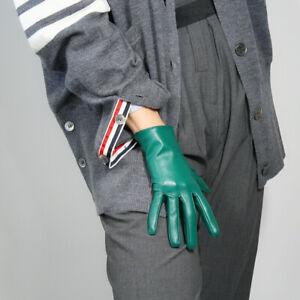 GLOVES Faux Leather Lambskin Sheepskin 21cm Short Kelly Green Touchscreen