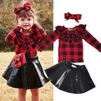 Toddler Kids Baby Girls Outfits Clothes T-shirt Tops + Tutu Dress Skirt 3PCS Set