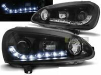 Coppia di Fari Anteriori LED DRL Look per VW GOLF 5 V Daylight Neri IT LPVW99-ED