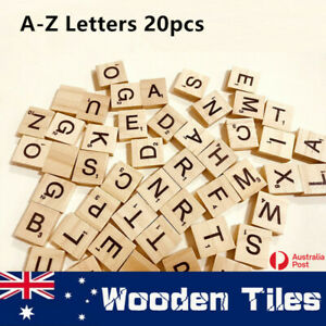 20x A-Z Letters Alphabet Wooden Scrabble Tiles Black Letters &Numbers For Crafts