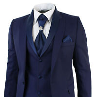 Mens Slim Fit 3 Piece Wedding Prom Party Blue 1 Button suit (Coat+Vest+Pant)