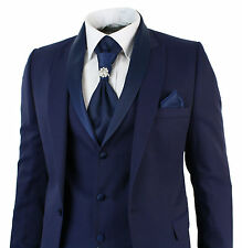 Mens Slim Fit 3 Piece Wedding Prom Party Blue 1 Button suit (Coat+Vest+Pant)