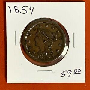 1854 Philadelphia Mint Copper Braided Hair Large Cent Higher Grade