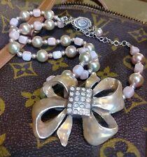 Babylone Paris Vintage Necklace Enamel Bow French Stimulated Pearls Signed