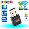 600Mbps Dual Band 2.4G/5G Hz Wireless Lan Card USB PC WiFi Adapter 802.11AC CA