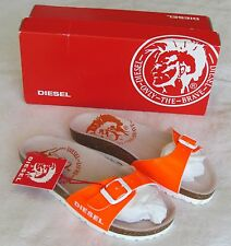 NEW Diesel Ladies Orange Patent Leather Mules Sandals UK Size 3 EU 36