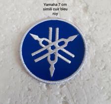 patch, écusson, simili cuir bleu roy , yamaha ,7cm,broder thermocollant