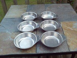 Vintage serving / soup bowls x 6 - stainless steel - 14 cm diameter
