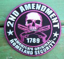 2nd Amendment Gun Skull Pink Patch 1789 America'S Original Homeland Security