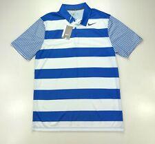 Nike Golf Breathe Bold Stripe Blue Dri Fit Golf Polo Short Sleeve Shirt Medium