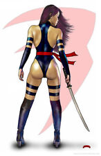 Psylocke back sexy Marvel sword fantasy comic art 11x17 signed print Dan DeMille