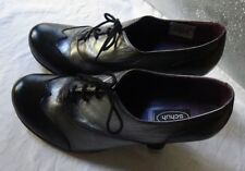 Schuh Leather Kitten Heel Lace-Up Shoe UK6 Silver & Black Victorian Style