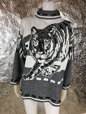 Women's Vintage 1980's Black & White Graphic Tiger Mock Neck Sweater, Size S/M