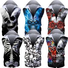 2020 Skull Print Hoodie Sweatshirt Pocket Pullover Sweater Sleeveless Zipper Hot