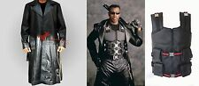 Men's Blade Trinity Wesley Snipes Leather Long Trench Coat And Vest