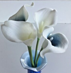 Artificial Navy Blue and White Picasso Calla Lilies Faux Real Touch Flowers