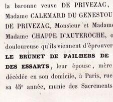 Le Brunet De Pailhers De Privezac La Taille Des Essarts 1861