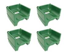 (4-Pack) Green Plastic Stackable Restaurant Child Booster Chair Seats