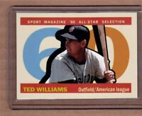 Ted Williams Sport Magazine All Star custom card by Bob Lemke '60 style #578