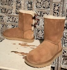 Womens Uggs Bailey Bow Pull On Boots Size 7 Chestnut Sheep Skin