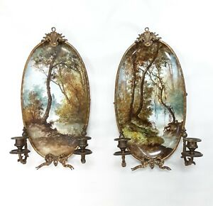 19th Century Pair of Choisy Le Roi Porcelain and Bronze Painted Oval Sconces