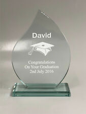 Personalised Engraved Glass Flame Award - Graduation Exam Keepsake Gift