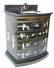 """30"""" Oriental vanity cabinet, Chinese vanity, black lacquer vanity"""