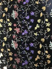 CHINESE ART SILK BROCADE FABRIC BLACK /W VIBRANT FLORAL FLOWERS GORGEOUS