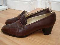 """Bally Womens Leather Slip on Court Shoes Size UK 5 Mid 2"""" Heels Loafers Smart"""