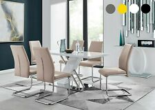SORRENTO White High Gloss Chrome Dining Table Set and 6 Leather Chairs Seat