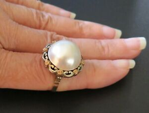 Vintage 14K Gold Large Mabe Pearl Ring 11.7 Grams Size 6