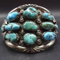 Heavy Vintage 1960s NAVAJO Sterling Silver & TURQUOISE Cluster Cuff BRACELET